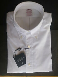 New Brooks Brothers White Supima Oxford Button Down Traditional Fit MSRP $140