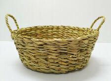 Vintage woven wicker rattan thai basket round 9.5 inch handmade fruit storage