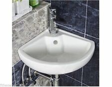 CLOAKROOM CORNER WALL HUNG MOUNTED WHITE CERAMIC BASIN SINK BATHROOM