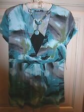APT. 9  Aqua/Black Tunic Top~Faux Beaded Necklace~NWT $36~Travelers knit~P Small