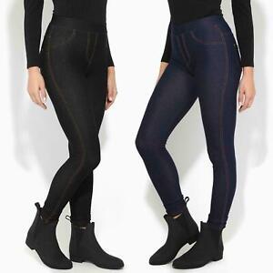 New Womens Ladies Stretchy Denim Look Skinny Jeggings Leggings Plus Size