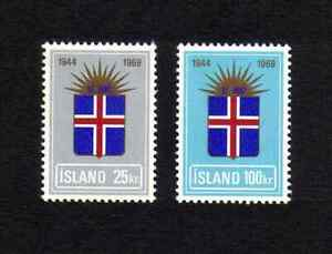 Iceland 1969 25th Anniversary of Republic complete set of 2v. (SG 461-462) MNH