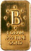 "GOLD 1 GRAM 24K PURE GOLD BENCHMARK BULLION BAR 999 FINE PURE GOLD ""B"" DIE H4d"