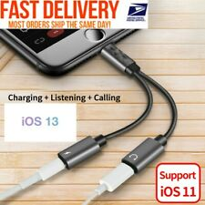 2in1 Dual Lightning Adapter Charging Splitter Audio Cable iPhone 7 8 X 11 A#04