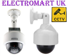 DUMMY CCTV SOLAR POWERED SECURITY DOME CAMERA FLASHING LED WALL CEILING MOUNT
