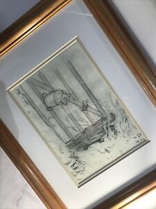 Winnie The Pooh & Piglet On The Gate Wooden Framed Sketch Drawing E H Shepherd