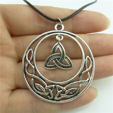 "89491 17"" Leather Chain Alloy Silver Filigree Celtic Knot Pendant Necklace"