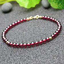 ALL NATURAL AGATE WITH 18K GOLD PLATED SILVER BEAD BRACELET 7 IN
