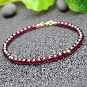 ALL NATURAL AGATE WITH 18K GOLD PLATED SILVER BEAD BRACELET 7.5""