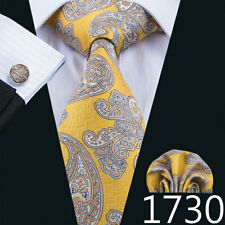 Gold Yellow Paisley 100% Jacquard Woven Silk Men's Tie set Necktie USA