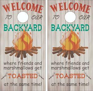 Welcome Backyard Funny Cornhole Skin Wrap Decal Set w/  FREE Lamination