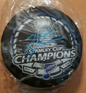 Jordan Binnington Autographed Stanley Cup Champions Puck
