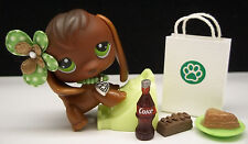 LITTLEST PET SHOP #77 CUTE BROWN BEAGLE PUPPY BOW SHOPPING BAG FOOD ACCESSORIES