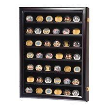 Wood Military Challenge Coin Display Case Casino Chip Frame Shadow Box Cabinet