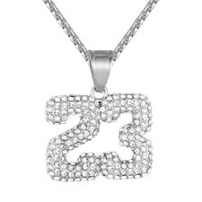 Sports Basketball Jersey 23 Stainless Steel White Gold Finish Pendant