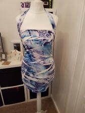 Ladies Blue & White Pattern Summer Halterneck Top (Size 10-12)