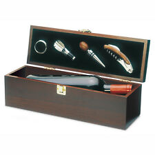 Wooden gift box to hold one wine bottle and wine accessories. Wine not included