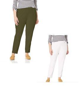 Caribbean Joe Women's Pull-On Ankle Pant  Petite Small-White Medium Green Space