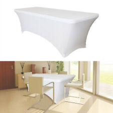 6FT Rectangle White Spandex Lycra Banquet Table Cloth Cover Wedding Party Decor