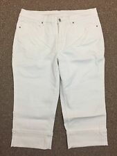 Denim & Co. Cropped Jeans in White Sz 14 (35x19)