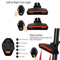 Smart MTB Bicycle Bike Rear Taillight Remote Control Wireless Light Laser Beam