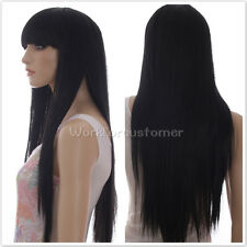 Women black Fashion Long Straight Girl Full Hair Wigs Cosplay/Party Black Wigs
