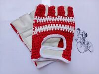 Vintage Style Belgium Flag Leather Made Crochet Cycling Mitt.