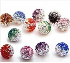 Free ship 10pcs Disco Ball Pave CZ Crystal Spacer Beads Fit Bracelet 10 12mm