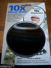 """10X MIRROR MATE - Attaches w/Suction Cups! Use for travel! - 3 3/8"""" diam. - NIP!"""