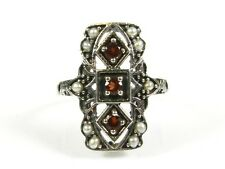 .25ctw Natural Round Garnet Seed Pearl Victorian Deco Sterling Filigree Ring 7
