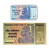 WR $100 Trillion Zimbabwe Dollar Gold Note & SILVER Bullion Bar Novelty Banknote