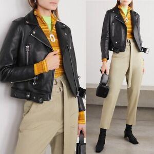 Acne Studios $1550 Leather Biker Black Moto Jacket Cropped Size FR 36 / US 2