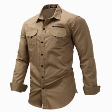 Mens Cargo Casual Shirts Long Sleeve Shirts Army Military Tactical Combat Sport