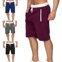 Men's Casual Shorts Trouser Baggy Gym Sport Jogger Sweat Beach Pants Zip Pockets