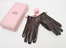 Luxus Original Juicy Couture Lackleder Echtleder Braun Handschuhe Gr.7 S Neu