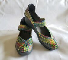 "STEVEN Brice 2.5"" Size 12 Wedge Mary Jane Multi-Color Stretch Woven Closed Toe"