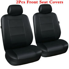 PU Leather Universal Fit Pair of 2 Front Car Seat Covers Cushion Protector Black