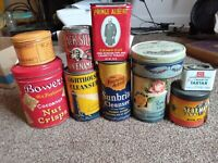 "Antique ""LOT OF 10 Advertising Tins Tobacco,Spices,Laundry+ more original unique"