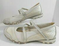SKECHERS Womens Walking Flats Sz 10 Leather Mary Jane EZ Strap Bling Natural #N