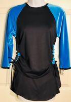 GK ELITE ADULT MEDIUM 3/4 SLV 2PC ICE FIGURE SKATE SET BLUE VELVET BLACK N/S AM