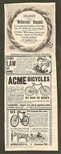 VINTAGE AD (1899) FRANK LESLIE'S POPULAR MONTHLY - GARLAND & ACME BICYCLES