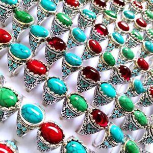 Bulk lot 50pcs Women Vintage Color Mix Turquoise Stone Silver Ring Charm Jewelry