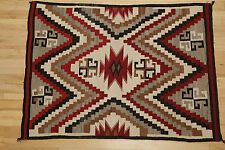 Regional Large Navajo Border Post Rug 1910-1940 Ganado Unique Crazy Rug