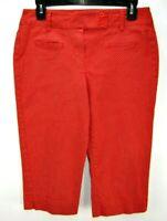 Larry Levine Stretch Womens 6 Cropped Capri Pants Red Polka Dot Cotton Blend EUC