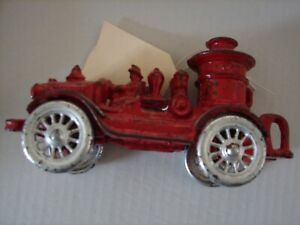 """HUBLEY Classic Antique Cast Iron Toy Fire Truck 6 1/2"""" Pumper Missin Grill 1930s"""