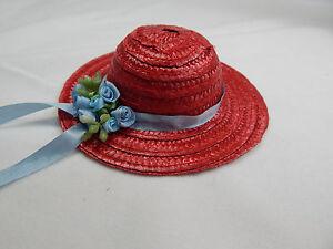 "Miniature Straw Hats By Theresa Yang 4"" Mini Straw Hats  Hand Made #Z154R-BL"