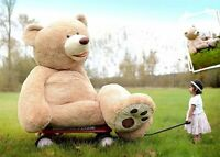 1.6M/160CM Light Brown Giant Skin Teddy Bear Big Stuffed Toy Gift(Only cover)