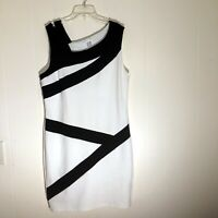 Venus Womens Color Block Dress Black White Sleeveless Side Zipper Size XL
