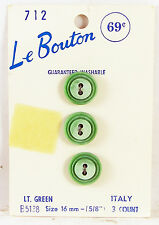 """3 Le Bouton Vintage PALE GREEN PLASTIC BUTTONS Round 5/8"""" New on Card Italy"""