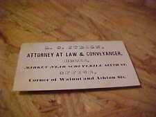 ANTIQUE CALLING/BUSINESS CARD L.C. JUDSON ATTORNEY AT LAW & CONVEYANCER